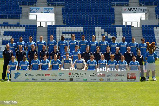 German Bundesliga first division soccer club TSG 1899 Hoffenheim poses for an official team photo in the Wirsol RheinNeckarArena in Sinsheim southern...