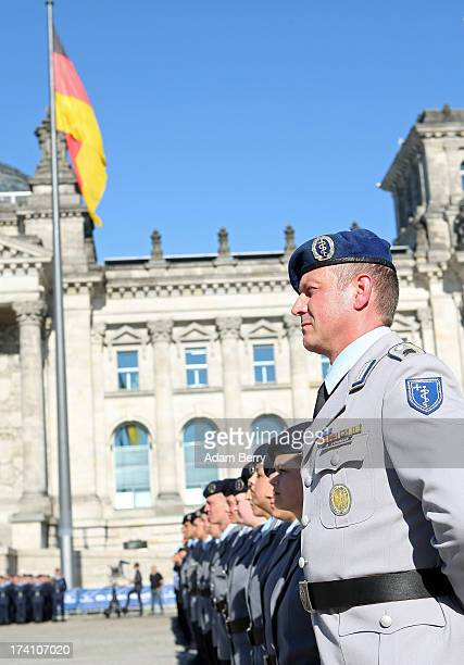 German Bundeswehr officer attends a swearingin ceremony for new recruits of the Bundeswehr the armed forces of the Federal Republic of Germany in...