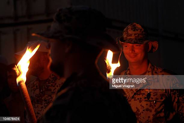 German Bundeswehr soldier smiles during a ceremony celebrating the 20th anniversary of the fusion of West and East Germany on October 3 2010 in...