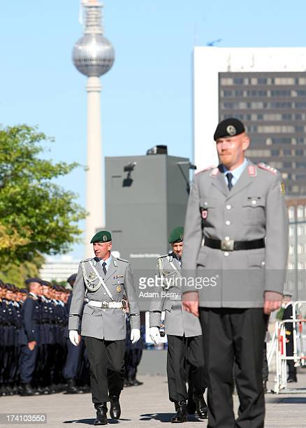 German Bundeswehr soldiers wait for the start of a swearingin ceremony for new recruits of the Bundeswehr the armed forces of the Federal Republic of...