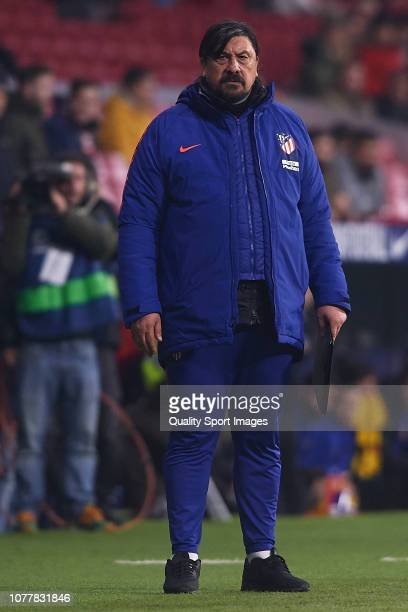German Burgos of Atletico de Madrid looks on during the Spanish Copa del Rey second leg match between Atletico de Madrid and Sant Andreu at Estadio...