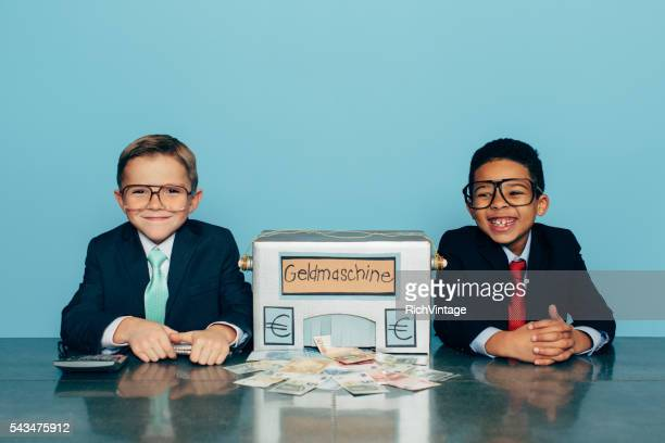 German Business Boys Make Euros with Homemade Money Machine
