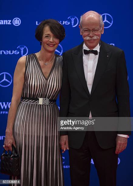 German businessman and the Chairman of the Board of Directors of Daimler AG Dieter Zetsche and his partner Anne attend the 2016 Laureus World Sports...