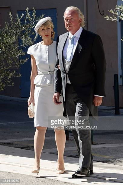 German businessman Hartmut Lademacher and his wife Gabriele LademacherSchneider pose for photographers after Wedding Ceremony of their daughter...