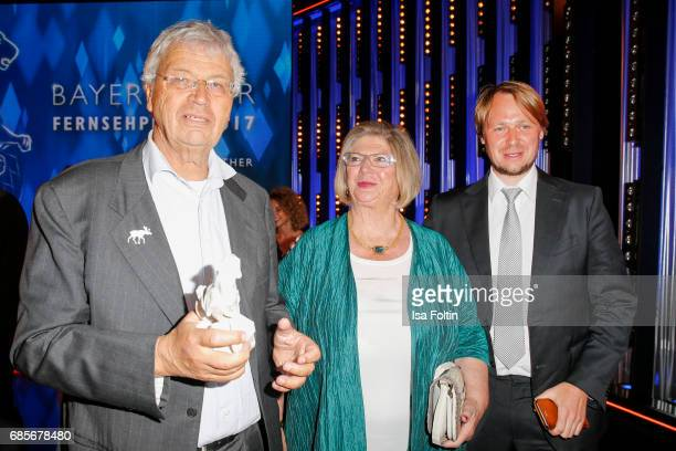 German cabaret artist and award winner Gerhard Polt with his wife Christien Polt and his son Martin Polt during the Bayerischer Fernsehpreis 2017 at...