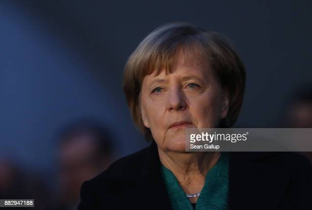 German Cahncellor Angela Merkel attends an event to receive three Christmas trees at the Chancellery on November 30 2017 in Berlin Germany Merkel who...