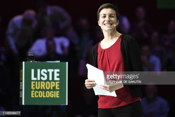 German candidate for the upcoming European Commission president elections Ska Keller of the European Green Party speaks during a political rally of...