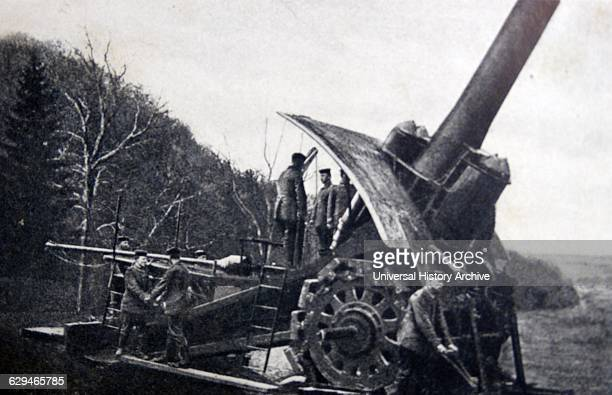 German cannon is lined up to fire into Belgium, at the outbreak of world war one.