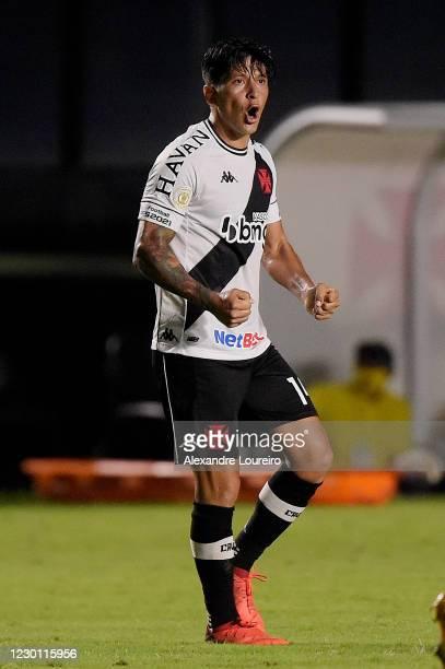 German Cano of Vasco da Gama celebrates after scoring a goal goal during the match between Vasco da Gama and Fluminense as part of Brasileirao Series...