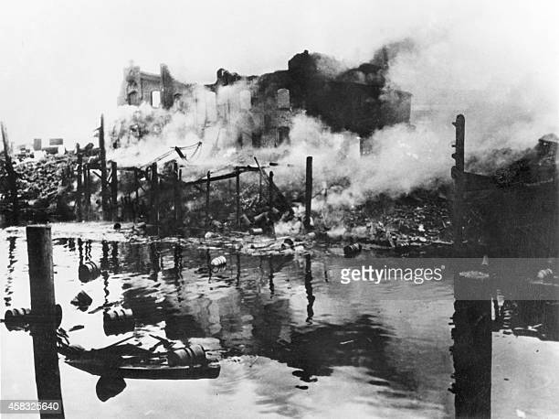 A German captured photo shows the destruction wrought by US Air Force and RAF bombers on Hamburg's harbor Germany's largest port and oil refinery...