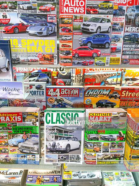 german car magazines - magazine rack stock photos and pictures