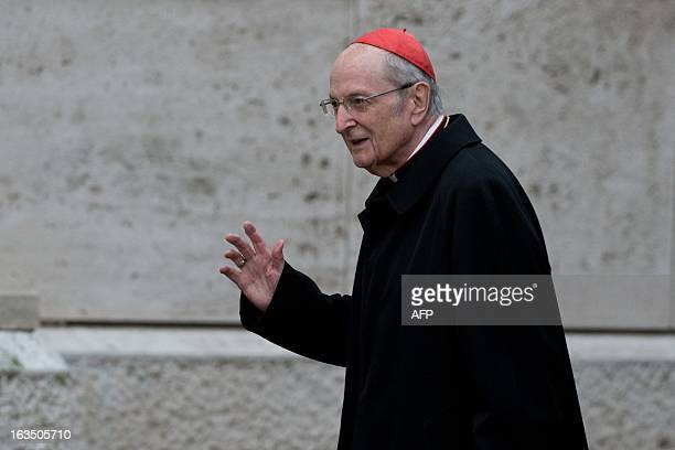 German cardinal Joachim Meisner arrives for a meeting on the eve of the start of a conclave on March 11 2013 at the Vatican Cardinals will hold a...