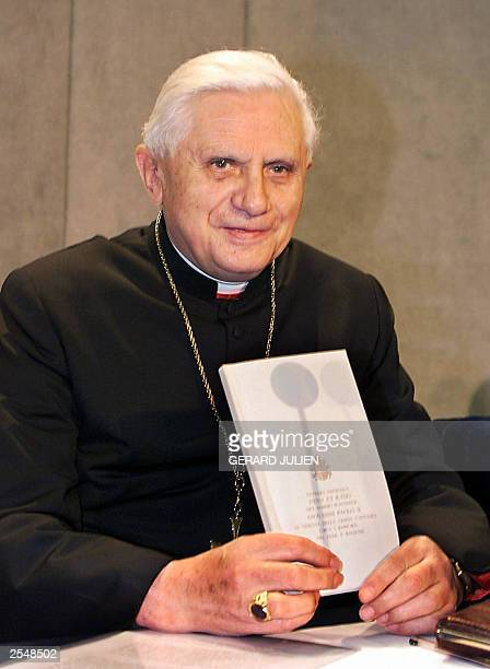German cardinal Joseph Ratzinger presents the latest encyclical 'Fides et Ratio' of Pope John Paul II during a press conference in the Vatican 15...