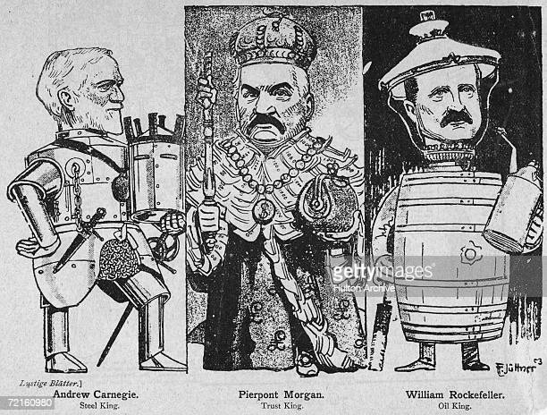 A German cartoon of 1903 of the three kings of American industry Left to right 'Steel King' Andrew Carnegie of the Carnegie Steel Company 'Trust...