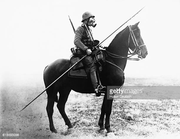 German Cavalryman Wearing Gas Mask