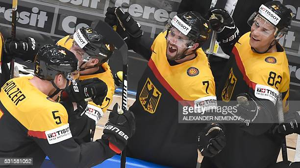 German celebrate a goal during the group B preliminary round game Germany vs USA at the 2016 IIHF Ice Hockey World Championship in Saint Petersburg...