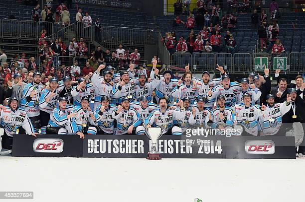 German champion 2014 ERC Ingolstadt after game seven of the DEL playoff final on April 29, 2014 in Cologne, Germany.