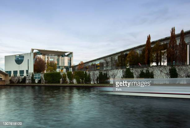 german chancellery and spree river (berlin, germany) - german chancellery stock pictures, royalty-free photos & images