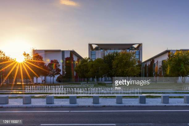 german chancellery sunset (berlin, germany) - german chancellery stock pictures, royalty-free photos & images