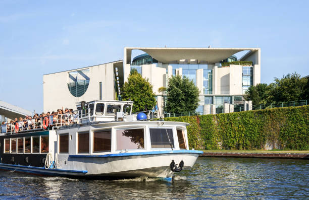German chancellery with sightseeing boat on Spree river (Berlin, Germany)