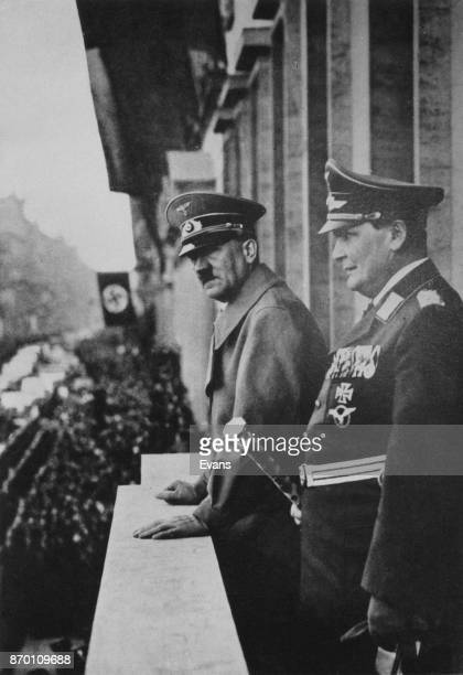 German Chancellor Adolf Hitler and Hermann Goering on the balcony of the Hotel Imperial in Vienna, Austria, after the Anschluss, 1938.