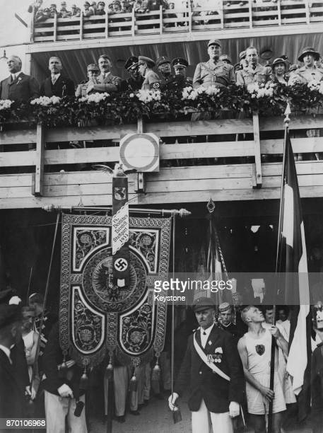 German Chancellor Adolf Hitler and Joseph Goebbels attend the last day of the 15th German Gymnastic Festival in Stuttgart Germany 31st July 1933