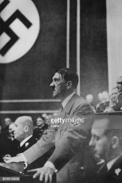 German Chancellor Adolf Hitler announces the foundation of a greater Germany at a session of the German Reichstag in Berlin 1938