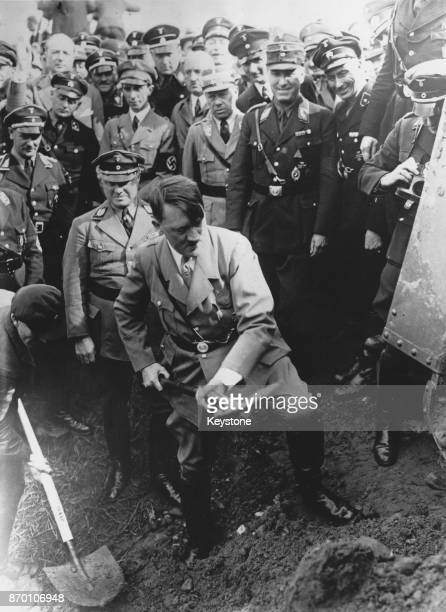 German Chancellor Adolf Hitler at the groundbreaking ceremony for the new Reichsautobahn or motorway at Frankfurt am Main Germany 24th September 1933...