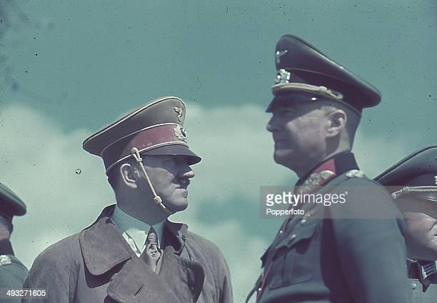 German Chancellor Adolf Hitler attends pre war army Manoeuvres with Field Marshal Walther von Brauchitsch circa 1938.