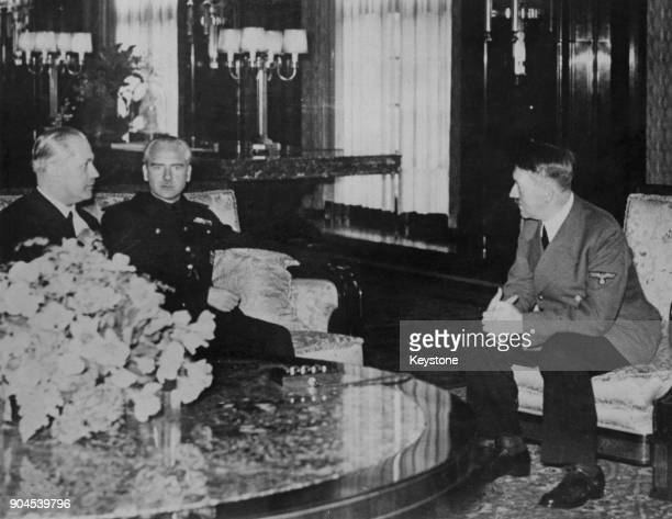 German Chancellor Adolf Hitler in the Reich Chancellery in Berlin Germany with Spanish Foreign Minister Ramon Serrano Suner 25th September 1940 Suner...