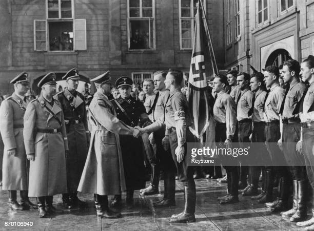 German Chancellor Adolf Hitler meets a group of German students in Prague after the German occupation of Czechoslovakia 17th March 1939 Heinrich...