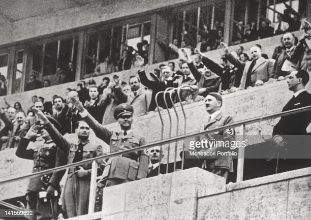 German chancellor Adolf Hitler Rudolf Hess and prince Umberto of Savoy at the opening ceremony of the Berlin 11th Olympic Games