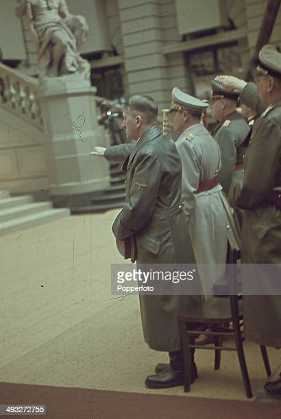 POTSDAM GERMANY German Chancellor Adolf Hitler salutes an audience of high ranking military figures during a speech in Potsdam Germany circa 1940...