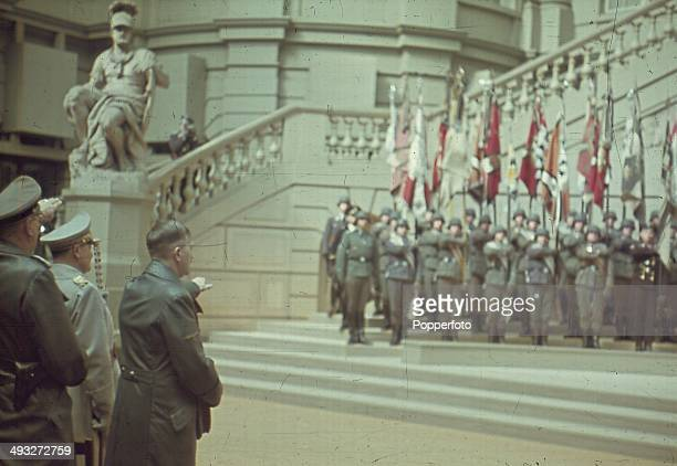 POTSDAM GERMANY German Chancellor Adolf Hitler salutes an audience of high ranking military figures during a speech in Potsdam Germany circa 1940