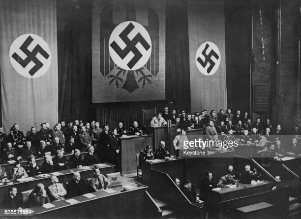 German Chancellor Adolf Hitler speaks at the Reichstag in Berlin Germany prior to the entry of German troops into the Rhineland 7th March 1936 Also...
