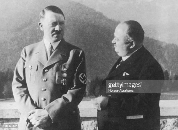 German Chancellor Adolf Hitler with his personal butler Kannenberg in the Berchtesgaden mountains circa 1935