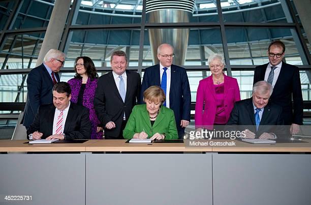 German Chancellor and Chairwoman of the German Christian Democrats Angela Merkel , Chairman of the Bavarian Christian Democrats Horst Seehofer and...