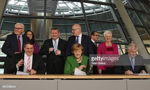 German Chancellor and Chairwoman of the German Christian Democrats Angela Merkel Chairman of the German Social Democrats Sigmar Gabriel and Chairman...