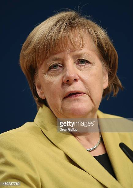 German Chancellor and Chairwoman of the German Christian Democrats Angela Merkel speaks at the annual CDU party congress on December 10 2014 in...