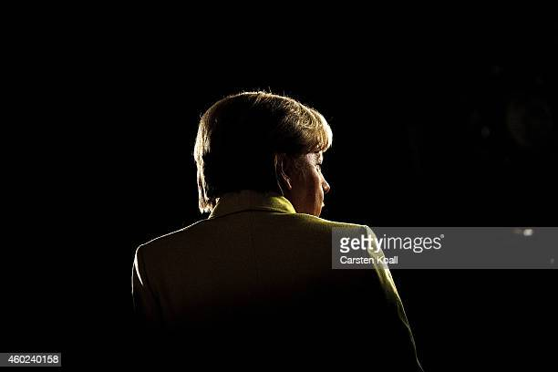 German Chancellor and Chairwoman of the German Christian Democrats Angela Merkel speaks to journalists after the end of the annual CDU party congress...