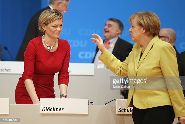 German Chancellor and Chairwoman of the German Christian Democrats Angela Merkel bids farewell to Julia Kloeckner head of the CDU in...