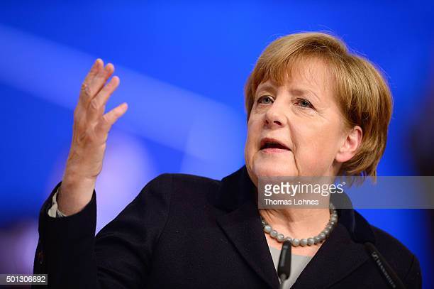 German Chancellor and Chairwoman of the German Christian Democrats Angela Merkel speaks to CDU party delegates at the annual CDU federal congress on...