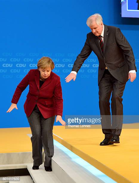 German Chancellor and Chairwoman of the German Christian Democrats Angela Merkel and Horst Seehofer Head of Bavarian Christian Democrats and...