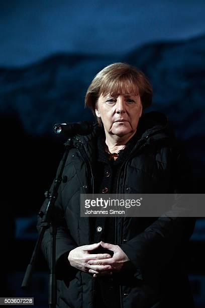 German Chancellor and Chairwoman of the German Christian Democrats Angela Merkel speaks to the media at the annual conference of the CSU at...