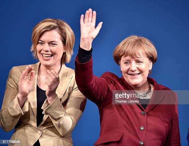German Chancellor and Chairwoman of the German Christian Democrats Angela Merkel and CDU lead candidate for RhinelandPalatinate Julia Kloeckner greet...