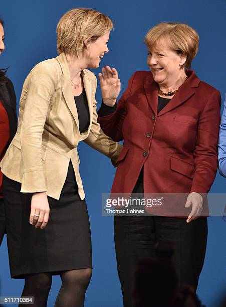 German Chancellor and Chairwoman of the German Christian Democrats Angela Merkel and CDU lead candidate for RhinelandPalatinate Julia Kloeckner stand...