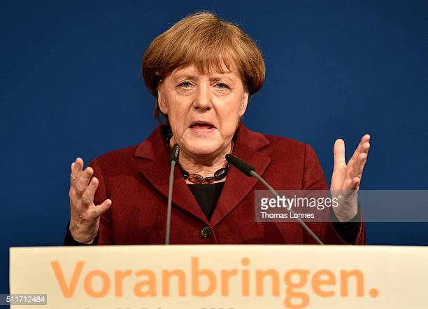 German Chancellor and Chairwoman of the German Christian Democrats Angela Merkel speaks at an election campaign rally for CDU lead candidate for...