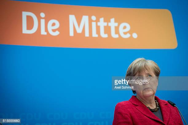 German Chancellor and Chairwoman of the German Christian Democrats Angela Merkel speaks to the media following elections in three German states on...