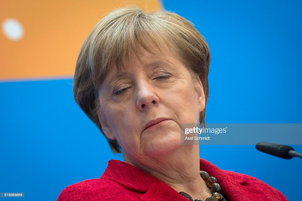 German Chancellor and Chairwoman of the German Christian Democrats (CDU) Angela Merkel speaks to the media following elections in three German states on March 14, 2016 in Berlin, Germany. Voters went to the polls yesterday in Rhineland-Palatinate, Saxony-Anhalt and Baden-Wuerttemberg and the right-leaning populist Alternative fuer Deutschland (Alternative for Germany,AfD) scored double-digit results in all three, dealing a blow to Germany's established parties, especially to the CDU. Merkel's liberal immigration policy towards migrants and refugees was a major issue in the elections and the AfD aimed its campaign at Germans who are uneasy with so many newcomers.