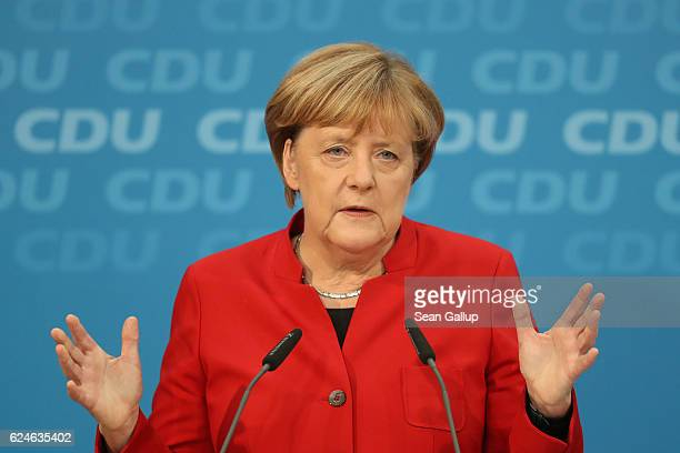 German Chancellor and Chairwoman of the German Christian Democrats Angela Merkel speaks to the media following meetings of the CDU leadership on...